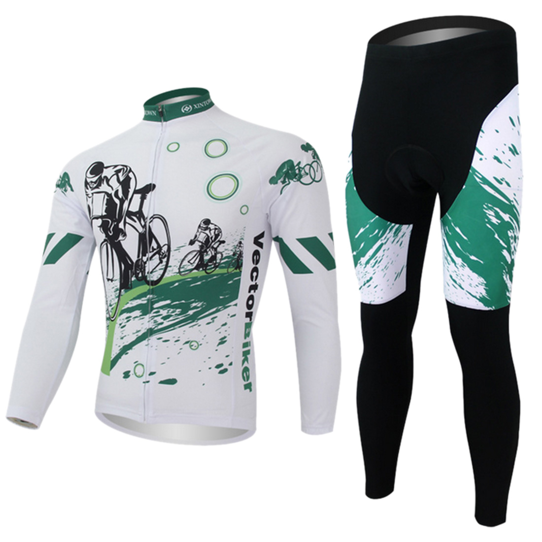 XINTOWN Unisex GEL Breathable Padded Green Cool Cycling Jersey Bicycle Suits Long Jersey Tight Tops & Shorts Men MTB Bike  alexander terekhov платья