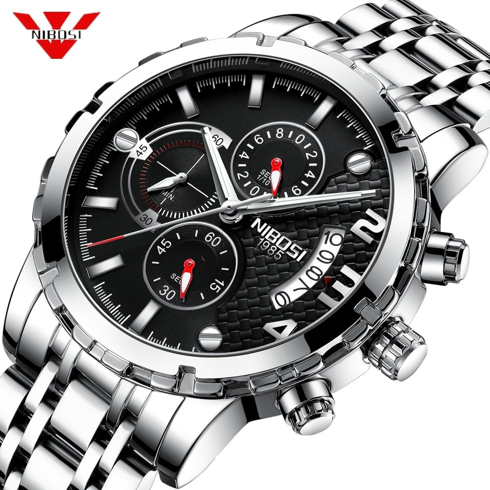 194e437fd2e NIBOSI Homem Relógio 2018 Homens Relogio masculino Relógio Automático Data  de Quartzo Relógios de Pulso À Prova D  Água Esporte Relógio Masculino  Reloje