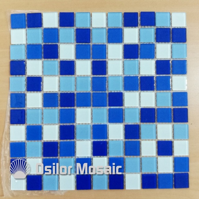 US $300.0 |free shipping glass and crystal mosaic tile for bathroom and  kitchen wall tile swimming pool tile 4 square meters/lot-in Wallpapers from  ...