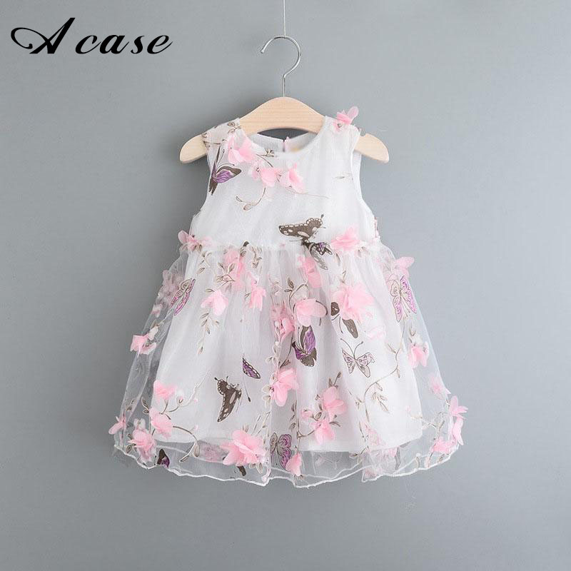 Children Girls Clothing Dress 2018 Summer Cute Pink Flower Butterfly White Chiffon Kids Vest Dresses Girl Clothes 2 5 9 10 Years
