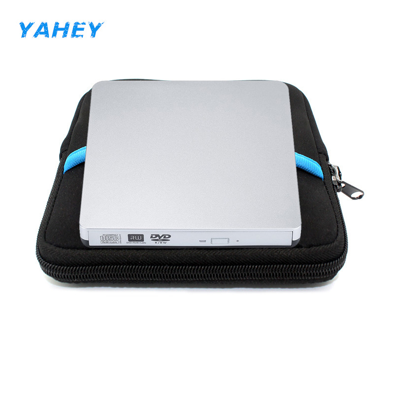 USB 2.0 DVD-RW Burner External DVD Player CD/DVD ROM Optical Drive Writer Reader Recorder for Laptop + drive case pouch bag
