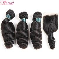 SATAI Brasiliano Onda Allentata 3 Bundle Con Chiusura 100% Bundles Capelli Umani Con Chiusura N atural Colore Non-remy Estensioni dei capelli