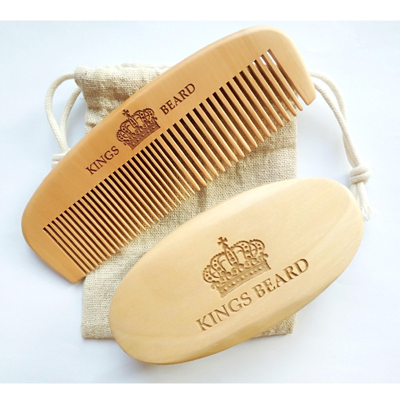 Boar Bristle Beard Brush&Peach Wood Wide/Fine Tooth Comb No Handle 15.5CM Long Comb For Men Hair Beard Care Engrave Logo green sandalwood combed wooden head neck mammary gland meridian lymphatic massage comb wide teeth comb