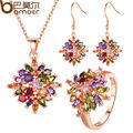 BAMOER Luxury  Rose Gold Plated Flower Jewelry Sets & More for Women Party with AAA Multicolor CZ High Quality