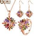 Bamoer luxo rose banhado a ouro flor conjuntos de jóias & mais para as mulheres do partido com aaa cz multicolor alta qualidade