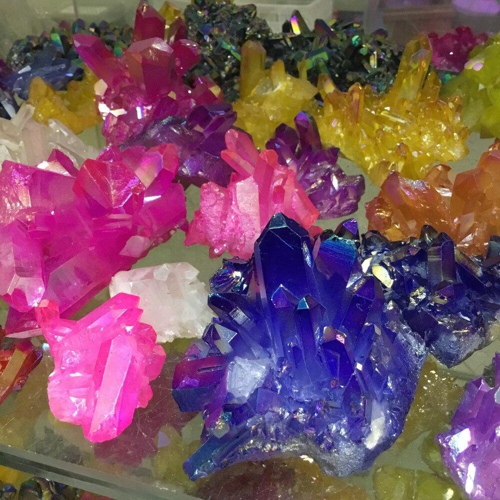 Natural quartz cluster Electroplate colorful Aura Quartz Crystal Cluster for decoration