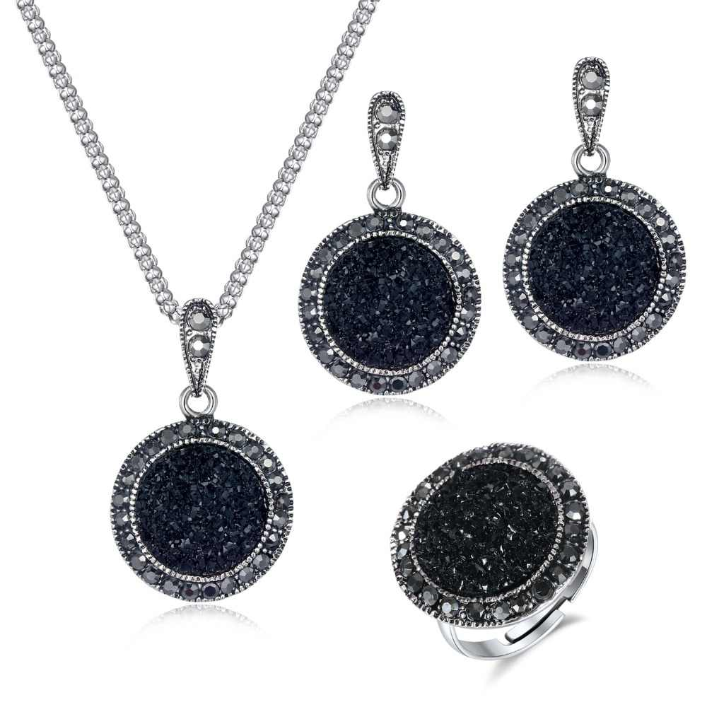 2019 Vintage Black Gem Necklace Earring Ring Jewelry Set Fashion Women Antique Silver Crystal Round Stone Pendant Necklace Gifts