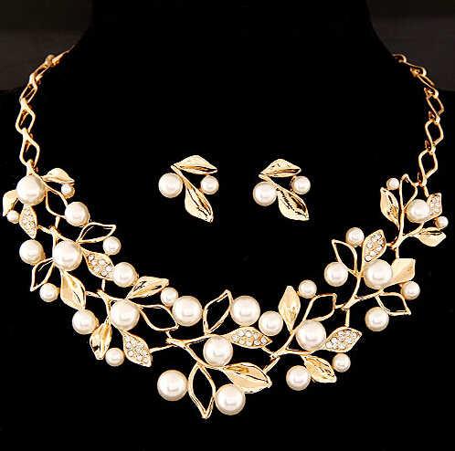 Fashion Rantai Emas Perhiasan Set Kalung Kalung Pernikahan Kalung Set untuk Wanita Kalung Mutiara Anting-Anting Anting-Anting Dedaunan