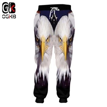 OGKB Homme Loose GYMS 3D Harem Pants Printed American Flag Eagle Casual Large Size Habiliment For Men Spring Sweatpants