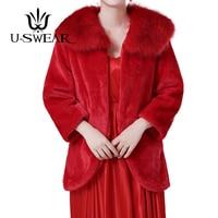 U SWEAR 2018 New Arrival Bridal Jacket Faux Fur Cape Fur Wrap Red Cape Wedding Jacket Women Capes Full Sleeve For Wedding