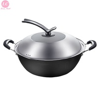 Cast Iron Pan Wok Iron Pan Non stick Cooking Pan Uncoated Household Induction Cooker Wok Paella Pan