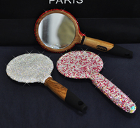 Luxury crystals Hand mirror cosmetic Wood hand mirror/Makeup message comb Home decor mirror Cosmetics tools Wedding gifts