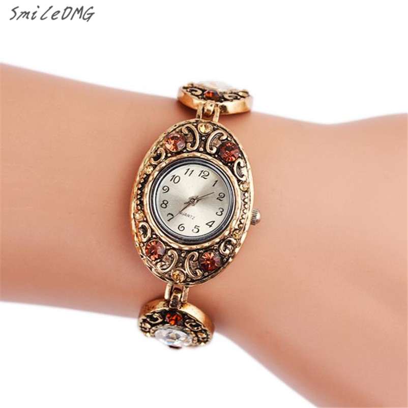 SmileOMG Hot Sale Fashion Casual  Women's Retro Diamond Metal Bracelet Wrist Watch Gift  Free Shipping,Sep 23 smileomg hot sale new fashion women crystal stainless steel analog quartz wrist watch bracelet free shipping sep 2