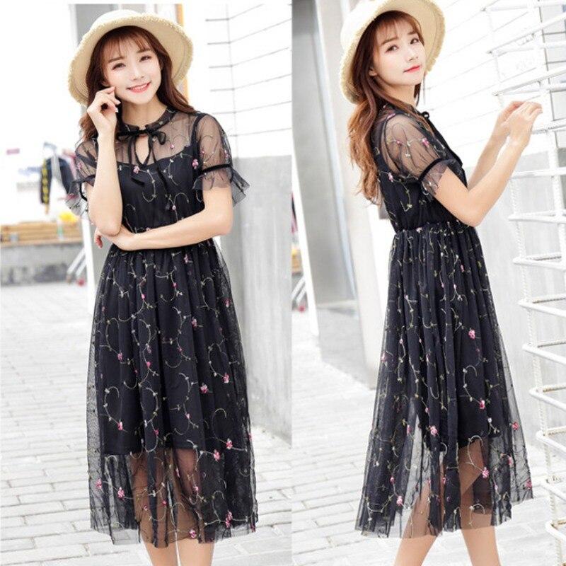 2018 Женская петлевая вышивка Цветочная платья богемные белые/черные длинные платья вечернее платье с высокой талией и короткими рукавами