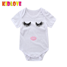 KIDLOVE Famliy Matching T-shirt Baby Jumpsuit Parent-child Cotton with Lips Eyes Pattern White Tops for Baby Romper ZK30