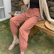 Lantern pants female spring winter chiffon yarn nine points thin section student carrot pants loose casual beam foot harem pants grid carrot pants