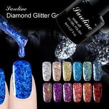 Saroline 3D Diamond Glitter Gel Polish UV lucky Nail Gel Polish Glitter Nail Gel Lacquer Sequins Gel Nail Art Varnish Soak off