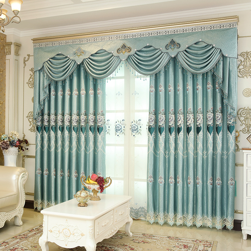 High-shade high-quality luxury villa European embroidered curtains living room bedroom kitchen home decoration