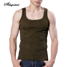 6083dbfa159e0 Summer Men Cotton Vest Sleeveless U-Neck Solid Color Fitness Tank Tops  Clothing Flexible Underwear