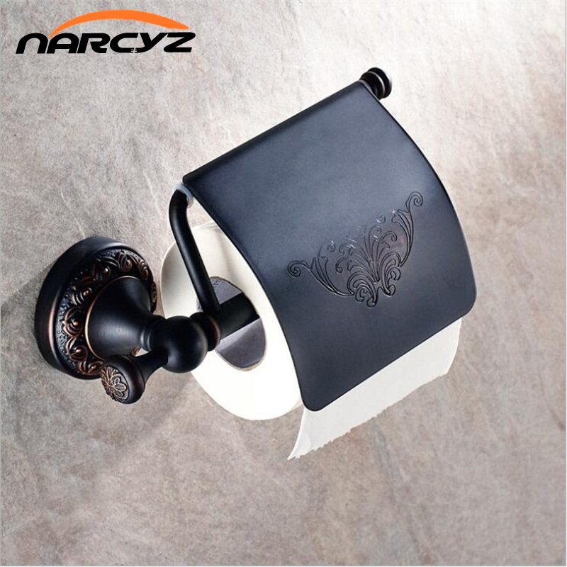 European-style bathroom full copper black antique tissue paper box roll paper holder toilet paper copper paper towel rack 9020K panda style cute tissue roll box small gadget trash black