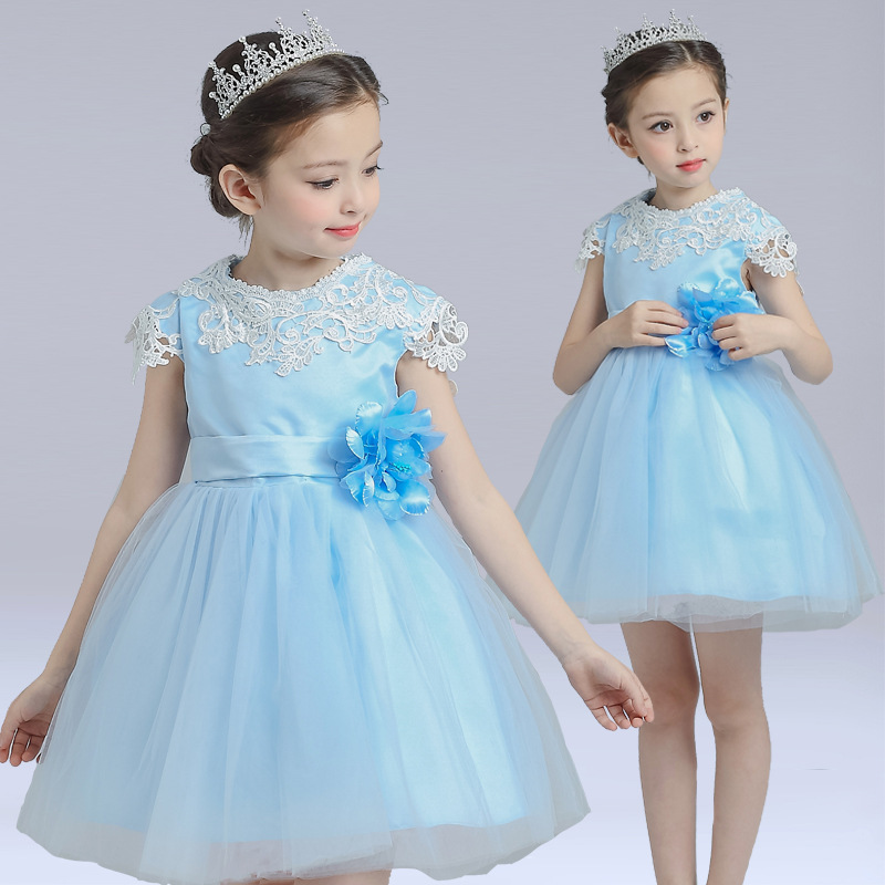 S1450 Wholesale 2017 Girls Summer Dress Children Gauze Princess Dresses Children Ball Gown Dress