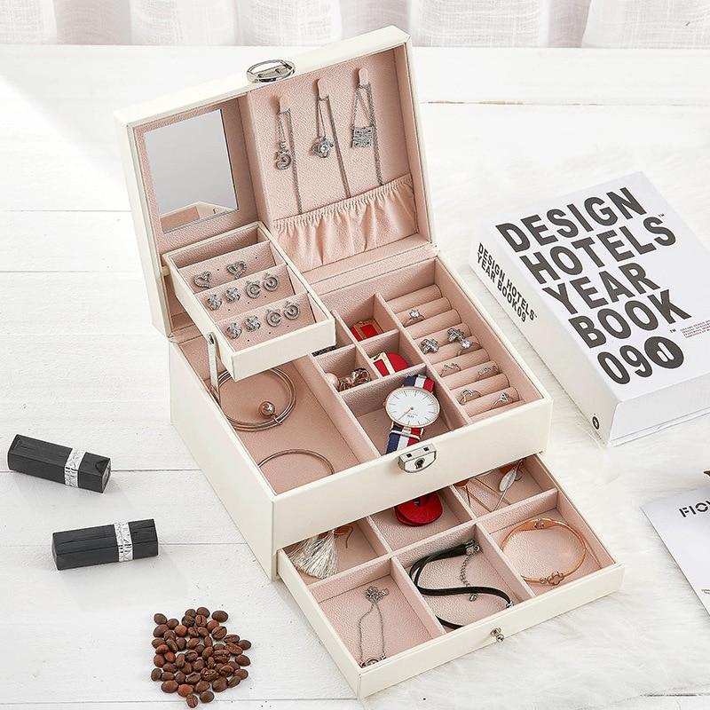 Brand Multi-Functional Jewelry Box Women Leather Jewel Carrying Box Three Layers Organizer Large Jewel Case Ladies Wedding Gift makeup organizer box