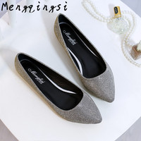 Mengqingsi Women S Flats Shoes 2017 New Large Size 33 45 Fashion Pointed Toe Sequined Cloth