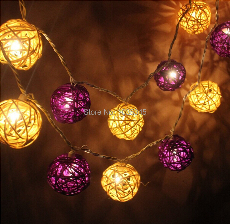 5cm 20pcs Purple And Yellow Rattan Per Set String Lights Fairy Lights For Wedding Party And Christmas Bedroom Holiday Decoration