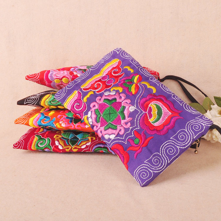 Hot phone carrybag!Nice embroidery purse phone/makeup bags canvas embroidery double-sided small mobile key handbag holder
