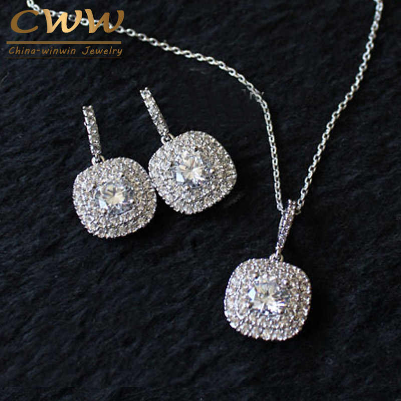 CWWZircons 2019 New Fashion Micro Setting CZ Jewelry Luxury AAA+ Cubic Zirconia Necklace Pendant And Earring Set for Women T060