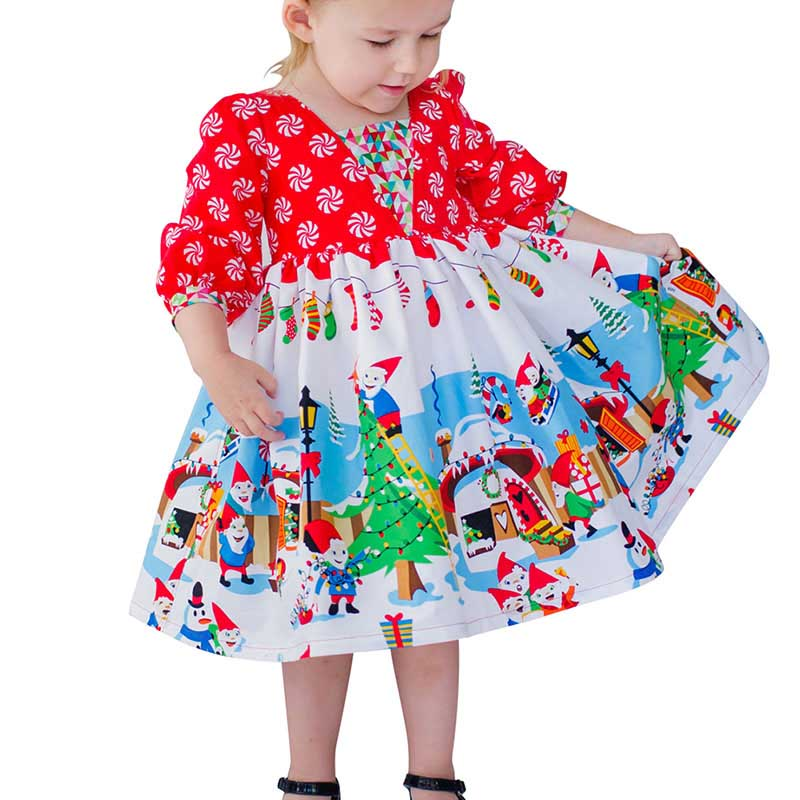 2017 Christmas Baby Girl Princess Dress Kids Newborn Clothes Long Sleeved Dress Christmas Tree Autumn Children Infant Clothing