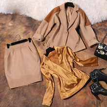 2016 New Autumn Winter High Quality Runway Wool Suit Jacket Satin Shirt Bag Hip Skirt OL Three Pieces Suits