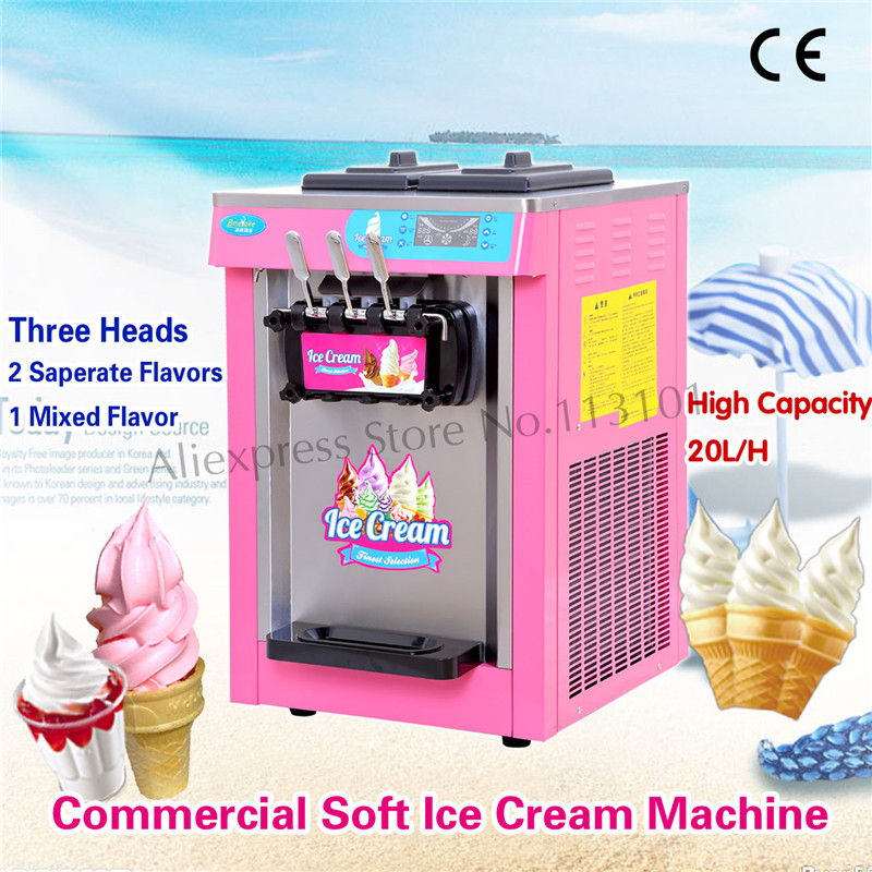 Colorful Body Soft Ice Cream Machine Sundae Ice-Cream Maker Commercial Use Three Heads Digital Control System beibehang golden fountain fair 3d photo wallpaper mural living room bedroom corridor tv background wallpaper for walls 3 d