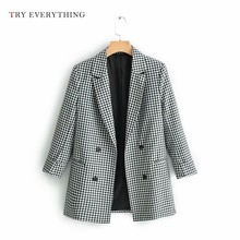 American Jacket Woman Blazer 2019 Plaid Women Double Breasted Black White Casual Jackets Femle Caot