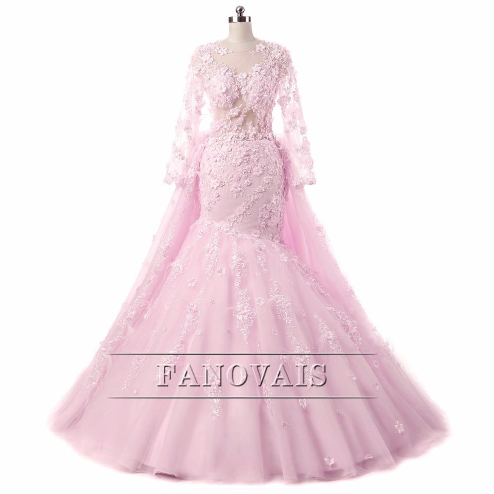 Baratos Hermosa Flor Rosa Vestidos de Novia de tren Desmontable ...