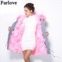 Furlove 2016 long Camouflage winter jacket coat women outwear warm thick parka natural real fur collar coat hooded ukraine