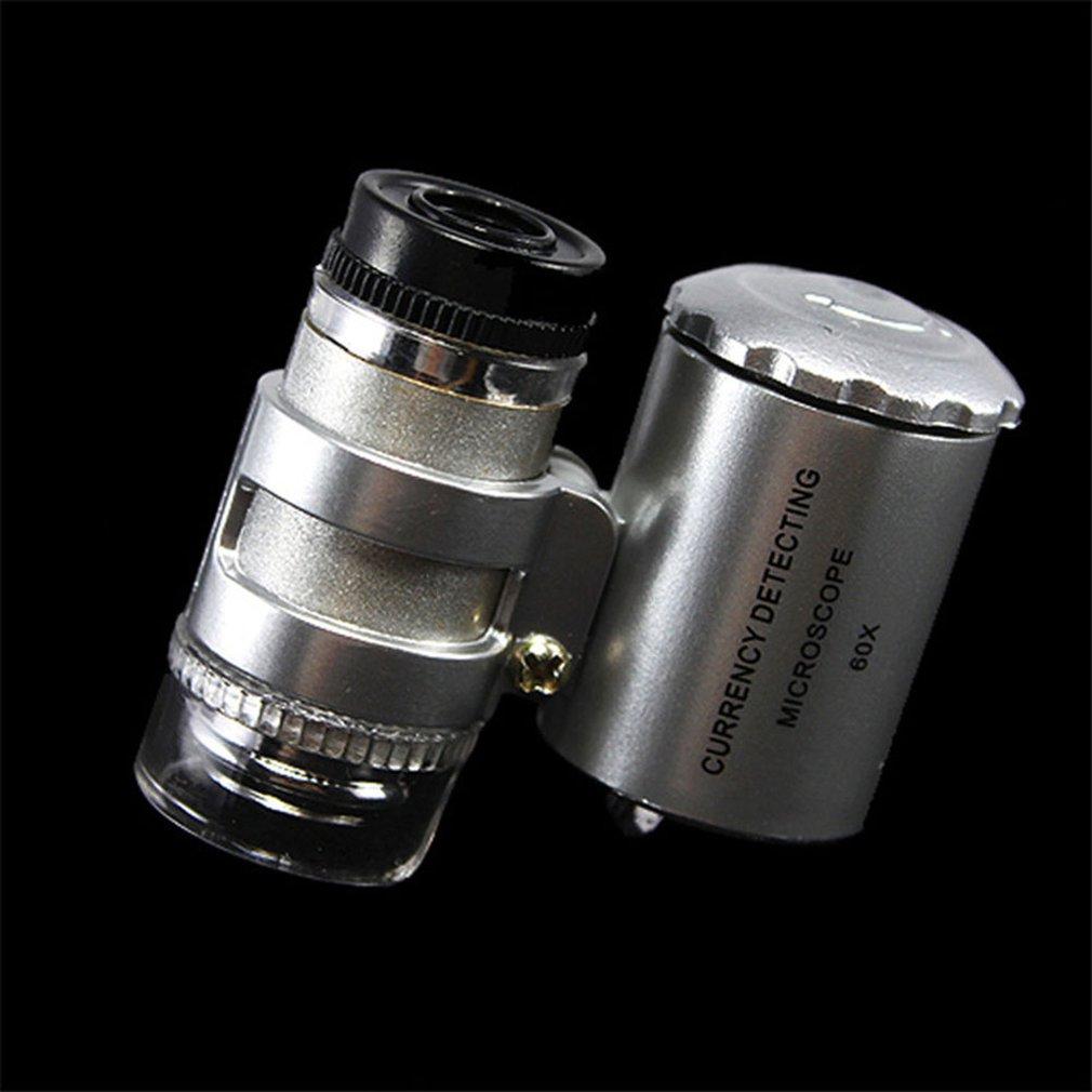 High Quality Durable Fashion Creative Mini 60X Pocket Microscope Jewelry Magnifier Loupe Glass LED UV Light Drop Shipping