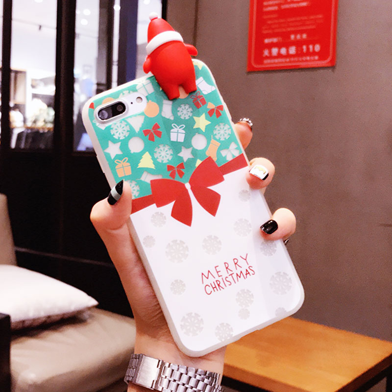 BOOGIC Merry Christmas Luminous Case For Apple iPhone 7 X 8 6 6S Plus Glowing in the dark Christmas Tree Bell Socks Cartoon Case