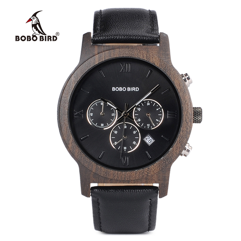 BOBO BIRD P28 Wooden Men's Watches Vogue Business Watch with Date Display in Wooden Gift Box bobo bird brand new sun glasses men square wood oversized zebra wood sunglasses women with wooden box oculos 2017