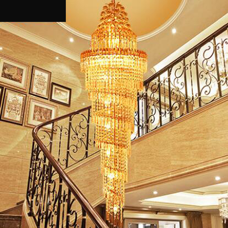 Staircase chandelier double staircase lamp long chandelier luxury villa staircase crystal lamp modern minimalist living room LED modern chinese simple villa crystal block long line led chandelier s type rotating double staircase living room lighting led
