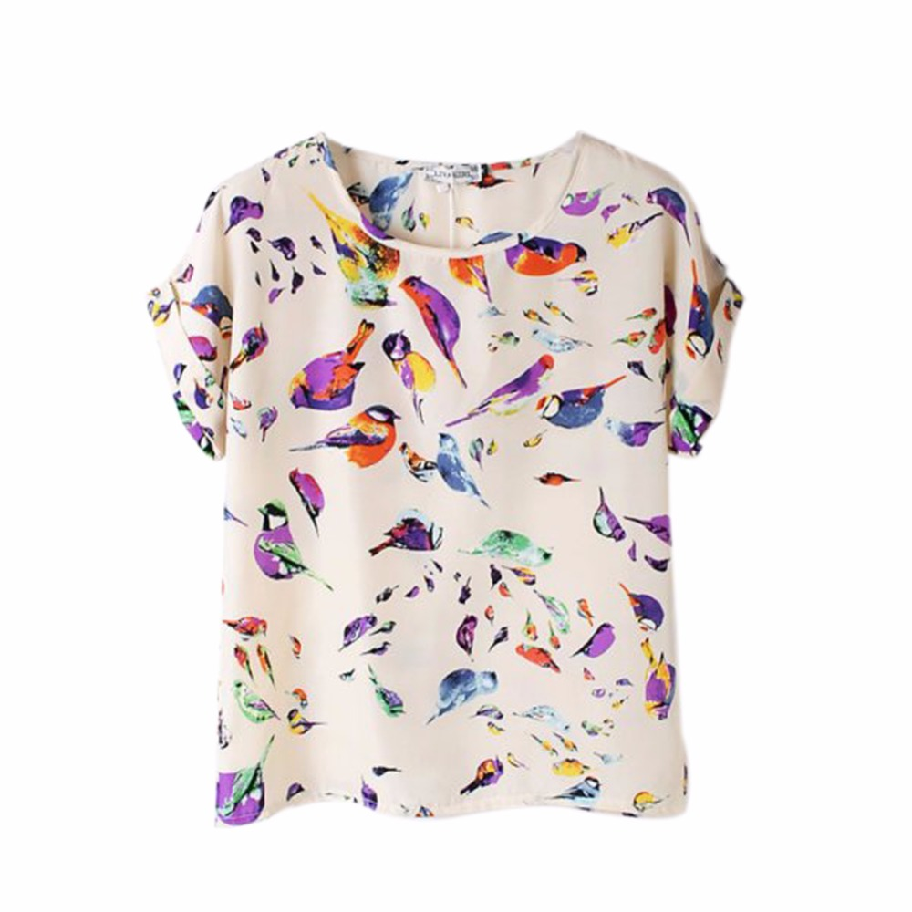 Summer Fashion O Neck Bird Printed Women Tops Colorful Short Sleeve Female T Shirts Batwing Loose