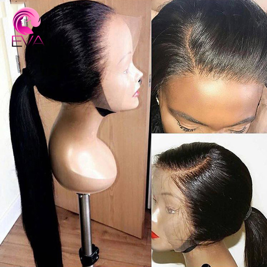 Wigs Human-Hair Baby Full-Lace Hairline Straight Eva for Black Women Pre-Plucked Natural