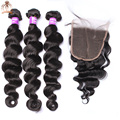 5x5 Indian Loose Wave Bundles With Lace Closure 8A Indian Virgin Hair With Closure Sunny Queen Hair Products With Closure Bundle
