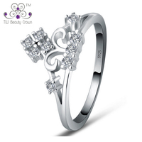 1 Pc 2017 New Real 925 Sterling Silver White Cubic Zirconia CZ Crown Wedding Rings For