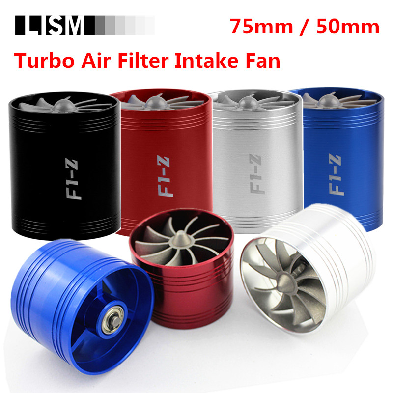 Car Turbine Supercharger F1-Z Turbo Charger Single Double Air Filter Intake Fan Fuel Gas Saver Kit Replacement Parts Car-Styling