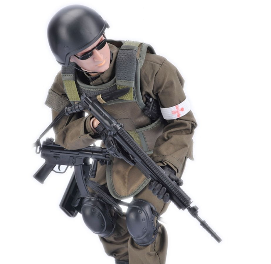 High simulation military 12 inch army Medical Soldier Action figures <font><b>1/6</b></font> <font><b>scale</b></font> doll with Rifle <font><b>gun</b></font> suit model toys collection image