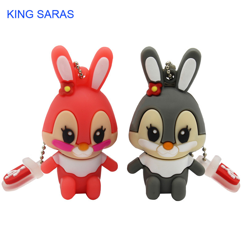 KING SARAS 64GB Usb Flash Drive Usb 2.0 4GB 8GB 16GB 32GB  Pendrive Cute Gray Pink Model Rabbit Cartoon Usb