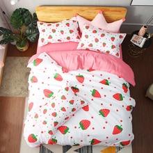 Cartoon strawberry 3D bedding set  Duvet Covers Pillowcases fruit comforter sets bedclothes bed linen