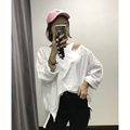 [XITAO] 2017 NEW spring summer women irregular broken hole pure color bamboo cotton loose long sleeve pullover T-shirt HXJ005