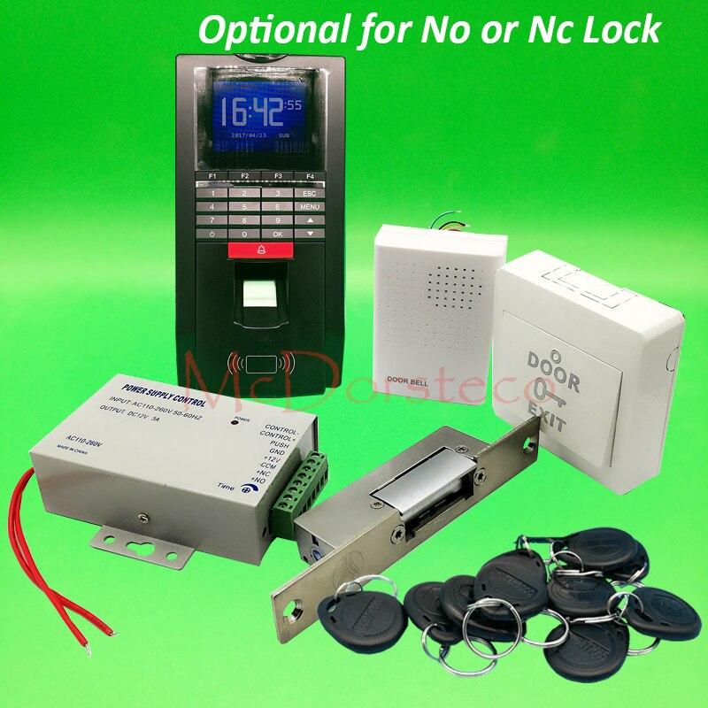 DIY Fingerprint Access Control System Complete Narrow type Electric Strike Lock Door Access System Kit + Power Supply+ Door Bell